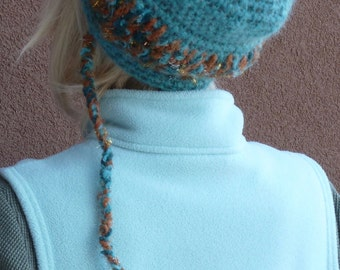 Crochet ponytail hat that has its own tail, unique and original winter ski hat, women's hat made for fun, teen ski hat, gift for her