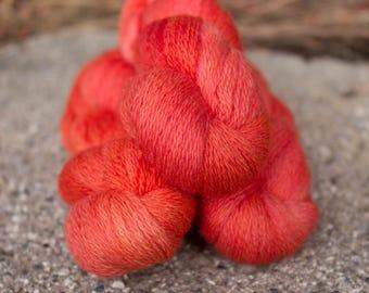 Kettle Dyed Orange 0 Lace weight Yarn Merino 200 yards Knitting Crochet