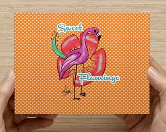 Postcard Sweet Flamingo