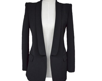 Womens Custom Black Blazer, women slim fit blazer, white jacket, long sleeve jacket, womens blazer