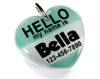 Hello My name is Pet ID Tag Pet Tags Double Sided heart shaped tag