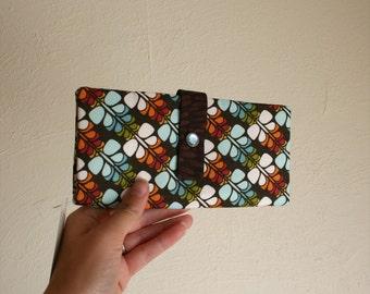 Multicolor Brown Print -Long Wallet Clutch- Card Slots, Zipper, Cash