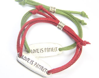 Red and Green Gift, Love is Patient Bracelet, Christmas Gift, His and Hers Gift, Love Bracelet, Anniversary Gift, Wedding Party Favor