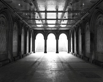 New York City Photography Print // Black and White Photography // Mid Century Modern // Central Park Art // Modern Art // Bethesda Terrace
