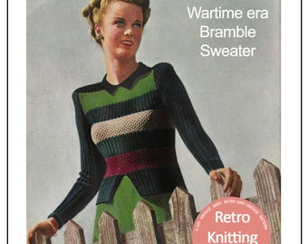1945 Wartime Striped Sweater Knitting Pattern - PDF  Pattern - Instant Download