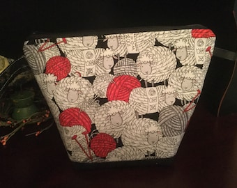 Yarnball Sheep zippered knitting project bag