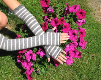 Cashmere  gloves - Fingerless gloves - Arm warmers - typing gloves
