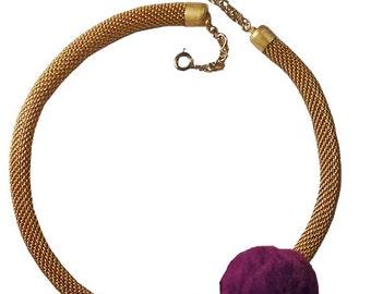 POM POM purple green mesh fabric gold