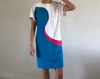 90s woven mod swirl dolman sleeve shift linen dress / color block turquoise pop art dress | medium