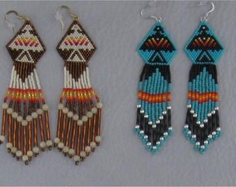 NATIVE AMERICAN  STYLE Beaded Eagle Earrings Choice of colors