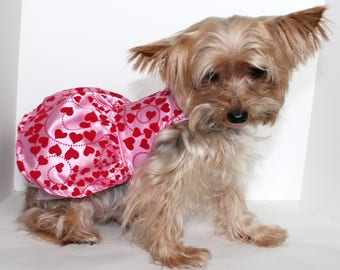 Pink Satin Dog Dress, XS S M L, Beautiful Pink Satin with Velvet Hearts Dresses for dogs, Designer Fashion Dog Clothes