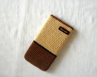 Brown-beige  cotton crochet phone cover, Smart phone case ,Crochet phone bag cover