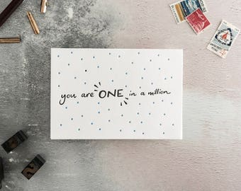 You Are One In A Million Letterpress Card