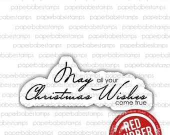 Christmas Wishes - Paperbabe Stamps - Red Rubber Mounted Stamps - Christmas Typography for paper crafting and scrapbooking.