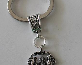 Sterling MAIDEN, MOTHER, CRONE  Key Ring, Key Chain - Celtic, Goddess