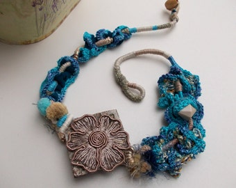 Blue lake...OOAK, fiber art necklace, handmade crochet ethnic chunky necklace with a pendant made of wood and lace, hand wrapped...