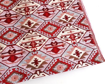 Ethnic Tribal Style Upholstery Fabric, Aztec Navajo Fabric, Geometric Design Kilim Fabric, Pink Red White, by the Yard/Metre, Ycp-002