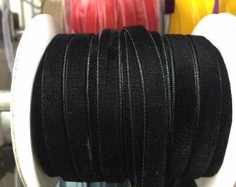 Velvet Ribbon - Black Velvet Ribbon 10mm ( 3/8 inches )