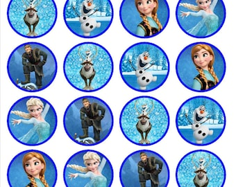 Frozen Edible Wafer Rice Paper Cake Cupcake Toppers x 24 PRECUT