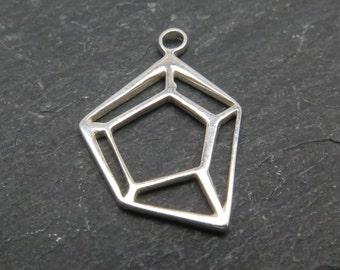 Sterling Silver Geometric Pendant 15mm