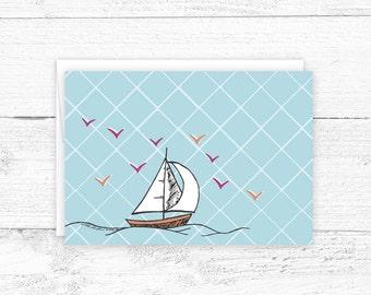 Hand Drawn Notecard - Blank Notecard - Sailboat Notecard - Illustrated Stationary