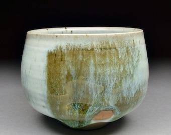 Unique Handmade Stoneware Chawan Shaped Yunomi glazed with Nuka and Iron Slip