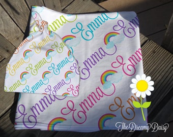 Rainbow Receiving Blanket and Knotted Beanie Hat for Girls - Personalized Baby Blanket & Hat Set - Custom Name Blanket and Hat Baby Gift Set