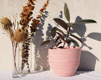 Pink hand dyed Medium rope bowl, basket, planter
