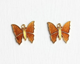 Orange Butterfly Charms (2x)