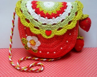 CROCHET PATTERN - Strawberry time - crochet purse pattern - crochet purse, crochet bag pattern, diy, PDF