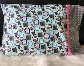 Dogs and Bunnies Pillowcase/Standard Size/Pillowcasesforcancer/Childhood Cancer Donation with each purchase!