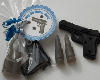 10 HAND GUN & BULLETS Soap {Favors} - Roaring 20's Party, Great Gatsby Party Favor, Gatsby Wedding Favor, James Bond Party