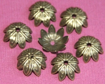 50 pcs of Antiqued brass finish filigree bead cap 10mm