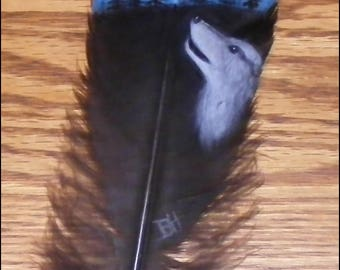 10 in. Hand Painted Turkey Tail Feather - Howling Wolf
