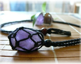 HEMP Pouch Necklace handmade ( Interchangeable ) for Crystal with 1 Tumble Stone