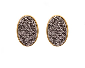 Druzy Stud Earrings - Druzy Studs - Silver Druzy - Gold Studs - Large Oval Studs - Gold Stud Earrings