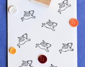 Angel Puppy  Rubber Stamp