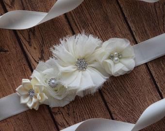 Flower Sash,  Ivory Sash#2 , flower Belt, maternity sash, wedding sash, maternity sash girl, flower girl sash