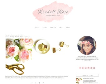 Feminine Blogger Template | Pink Blogger Template | Responsive Blogger Template | Watercolor | Kendall Rose