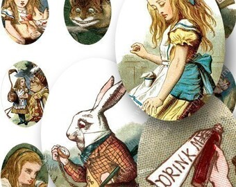 Vintage Alice in Wonderland Woodcuts Digital Collage Sheet from the 1890s in 18x25 mm ovals Rabbits John Tenniel Books Mad Hatter piddix 690