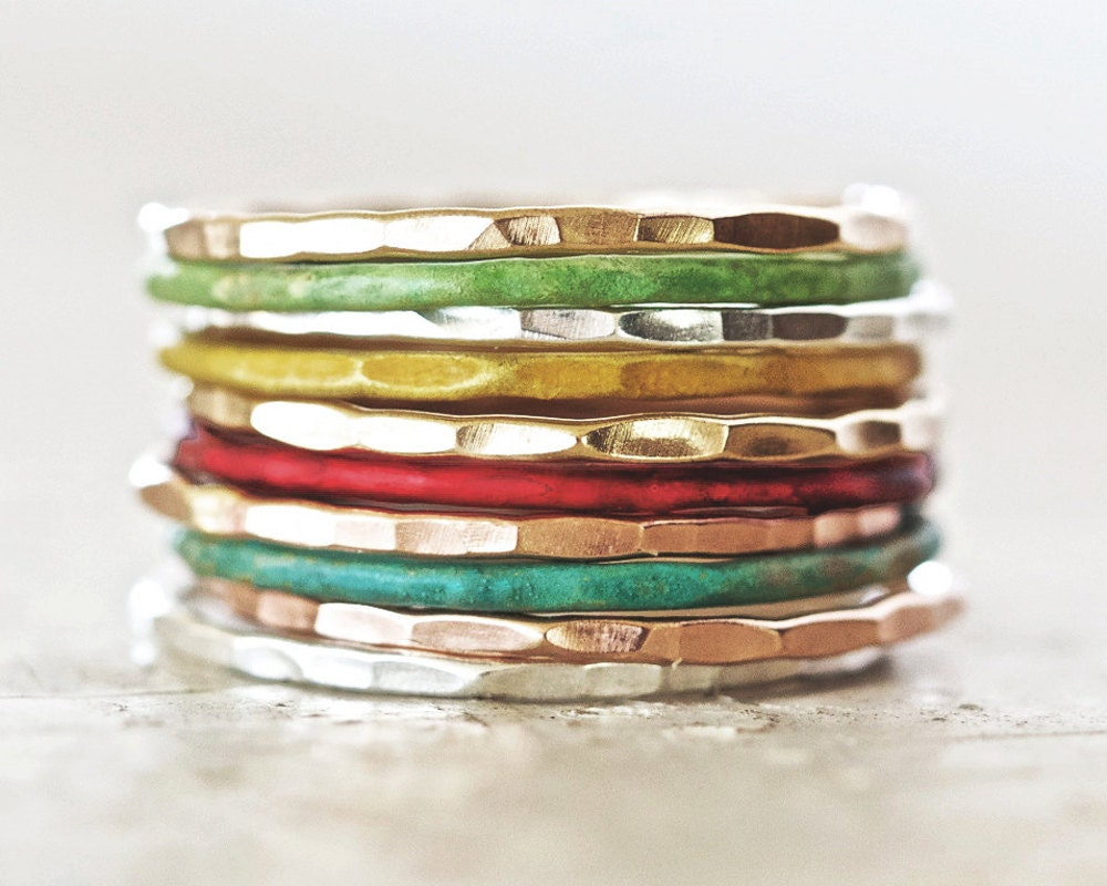 Stacking Rings / Thin Stacking Rings / Patina Stackable Rings / Stack / Silver Stack Ring / Stacking Ring Set / Stack Rings
