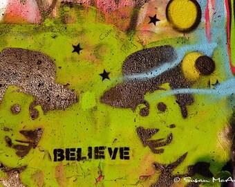 Graffiti Photograph, Urban Art, Wall Art Photograph, Home Decor, Graffiti Art, Contemporary Art, Believe, Edgy Art, Red, Pink, Black