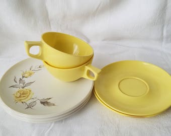 Vintage Yellow Melmac Cups and Plates
