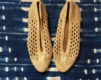 1980s Metallic Gold Crochet Flats