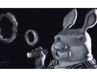 Buck Cigar  (Fine Art Print not a real Rabbit smoking a cigar)