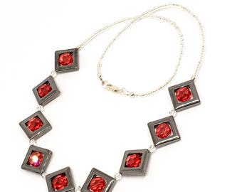 Hematite gemstone and sterling silver necklace - Swarovski crystal