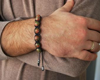 Mens bracelet , Unakite bracelet , Healing bracelet , Beaded bracelet , Boyfriend gift , For men , Mens gift , Shamballa