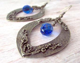 Antique Blue Crystal Earrings - Vintage Look Earrings - Girlfriend Gifts Under 20 - Bohemian Jewelry Gifts for Her - Everyday Earrings