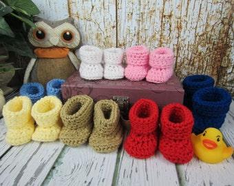 Bébé chaussons, chaussons bébé au Crochet, chaussons de nouveau-né, 0-3 mo, mo 3-6, 6-9 mo, 9-12 mois, unisexe, choisissez votre couleur, chaussons garçon chausson fille