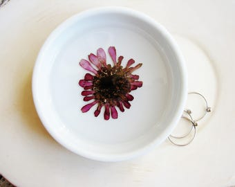 Purple Ring Dish, Purple Flower Ceramic Dish, Pressed Flower Jewelry Dish, Bridal Gift, Birthday Gift